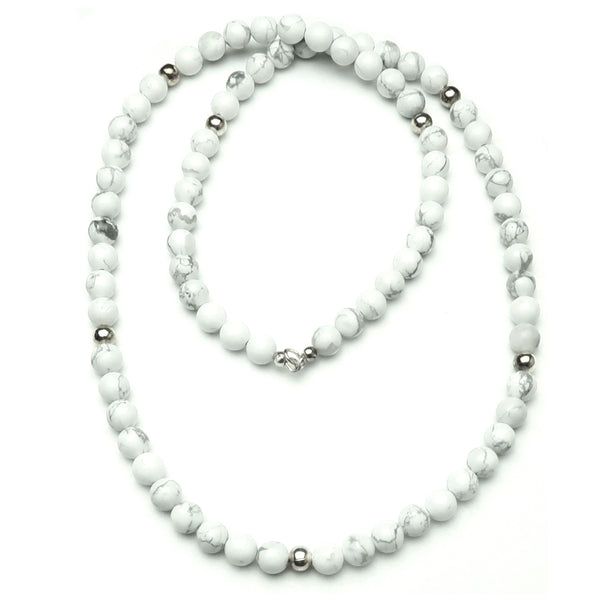 Howlite Necklace 08 - Long White Beaded Stone