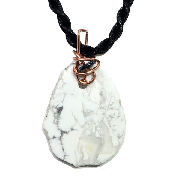 Howlite Necklace 10 White Slab Snowflake Obsidian