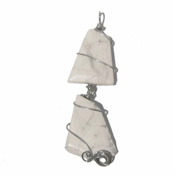 Howlite Pendant 05 Wire Wrap White Silver Stone - I Dig Crystals