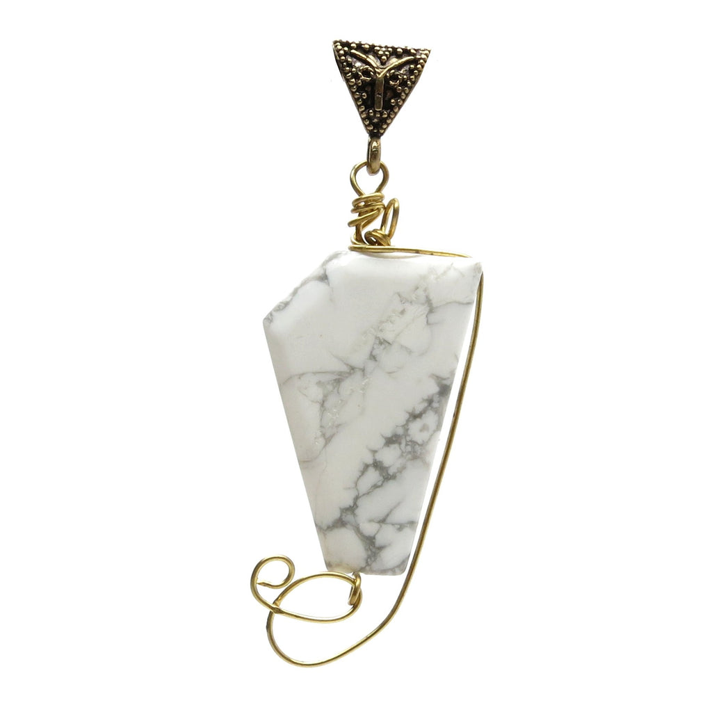 Howlite Pendant 07 Gold Wire Wrap White Polygon Stone