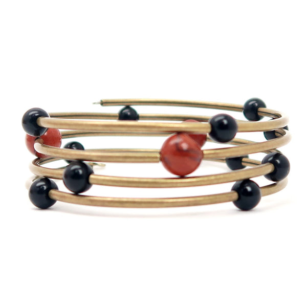 Jasper Bracelet 32 - Coil Antiqued Red Black Obsidian