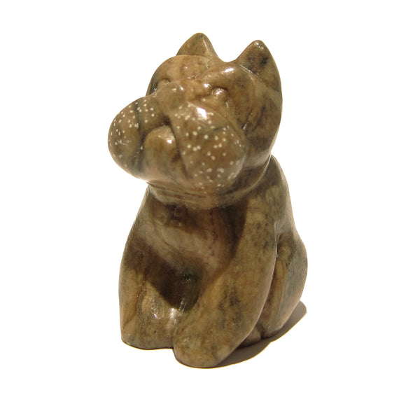 Jasper Bull Dog 01 Animal Brown Stone Figurine