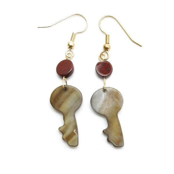 Jasper Earrings 36 Brown Lip Shell Key Red Stone Shell - I Dig Crystals