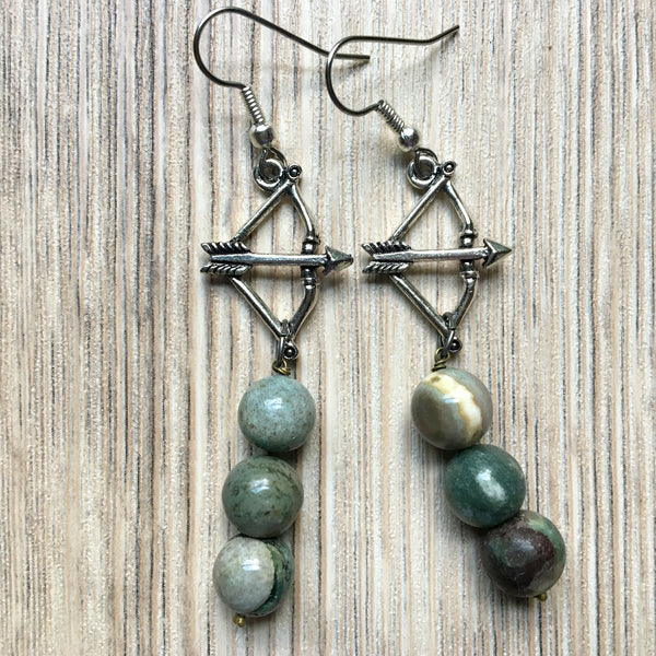 Jasper Earrings 48 Green Archery Bow Arrow