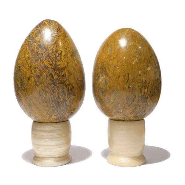Jasper Egg 02 Pair Brown Snake Stone Crystal Healing Chakra Set (Wood Stand, ...