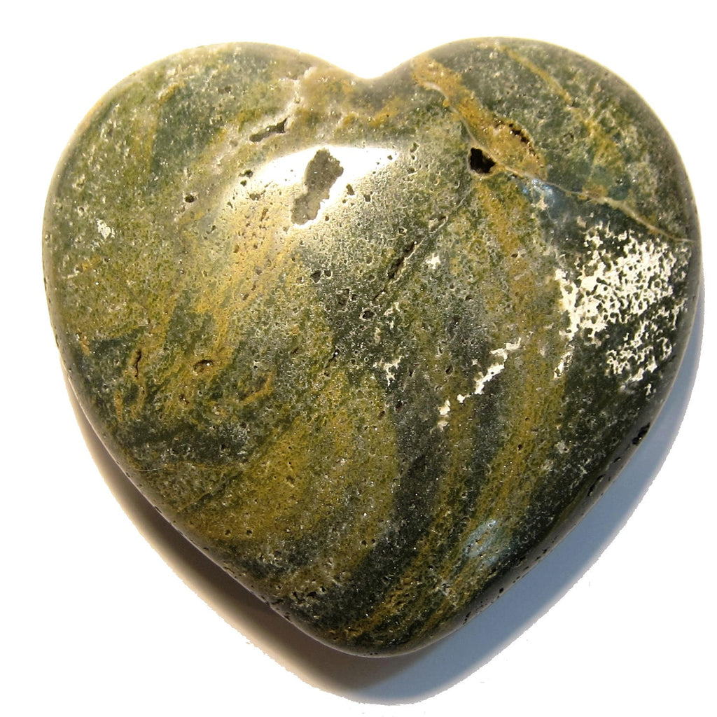 Jasper Heart 02 Ocean Green Stone Polished Big (1.1 Pound, 4.1 Inches) - I Dig Crystals