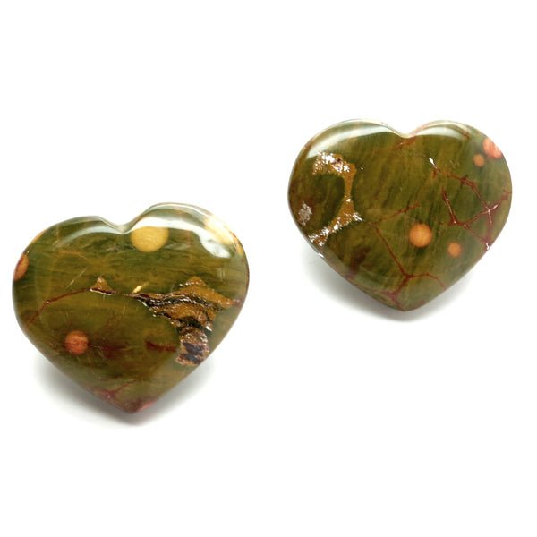 Jasper Heart 11 Polka Dot Yellow Brown Ocean Stone Cabochon Pair - I Dig Crystals