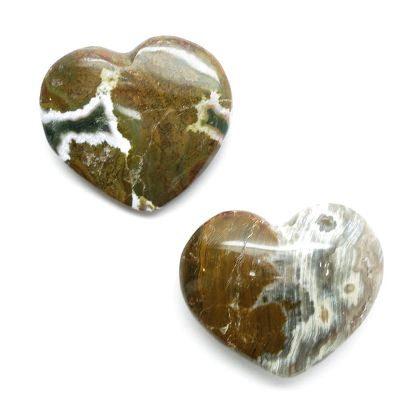 Jasper Heart 12 Brown White Set of Two Ocean Stone Pair - I Dig Crystals