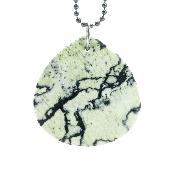 Jasper Necklace 27 Dendrite White Black Chunky Drop Stone