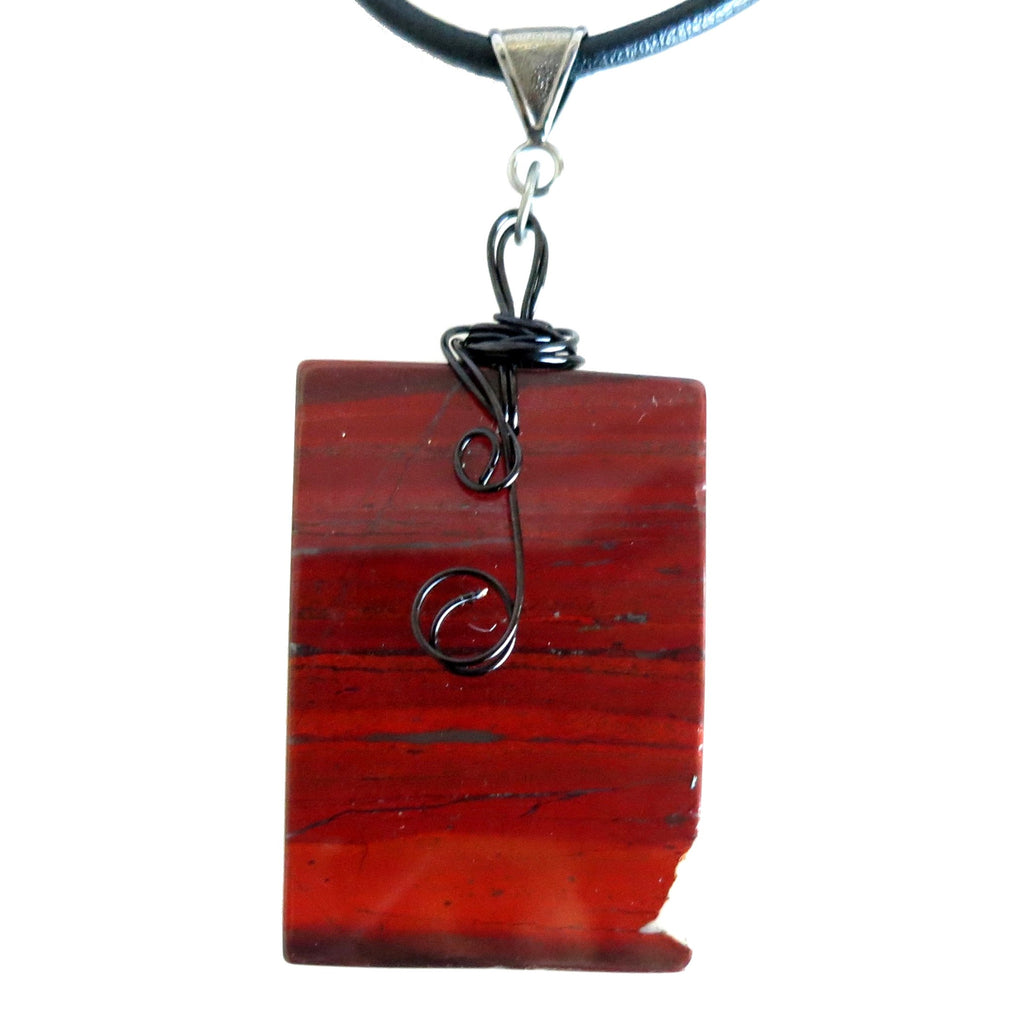 Jasper Necklace 59 Red Rectangle Long Black Leather