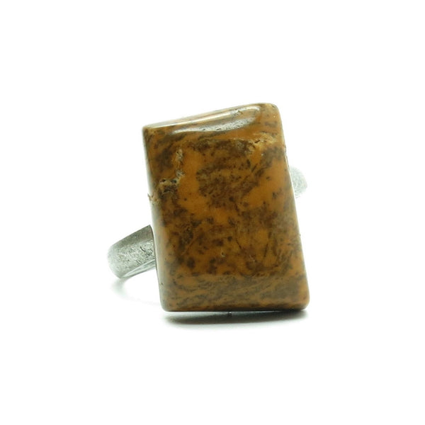 Jasper Ring 19 Dendrite Brown Stone Adjustable (Size 7.5-8.5) - I Dig Crystals