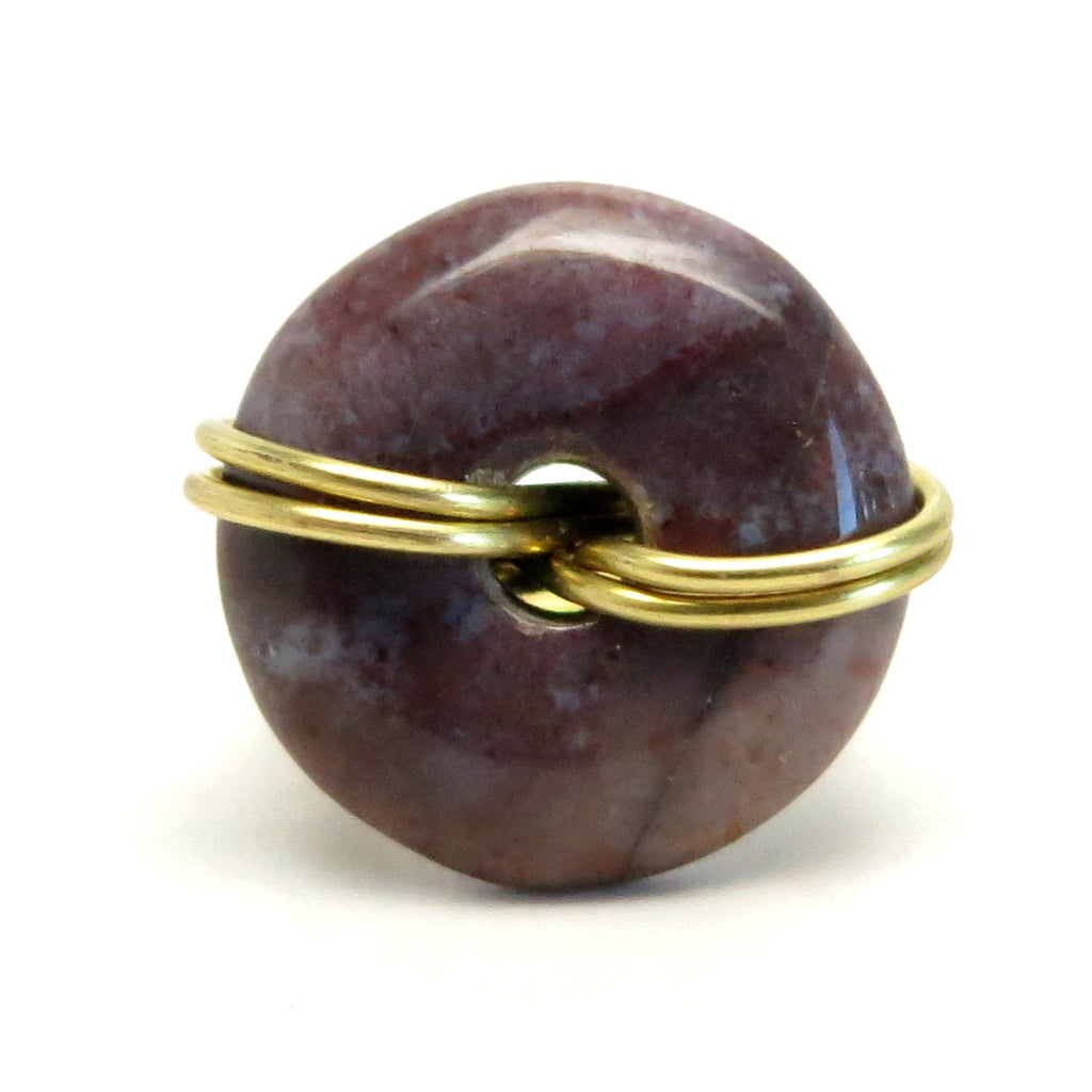Jasper Ring 24 Purple Donut Stone Gold Wire Wrapped (Size 4)