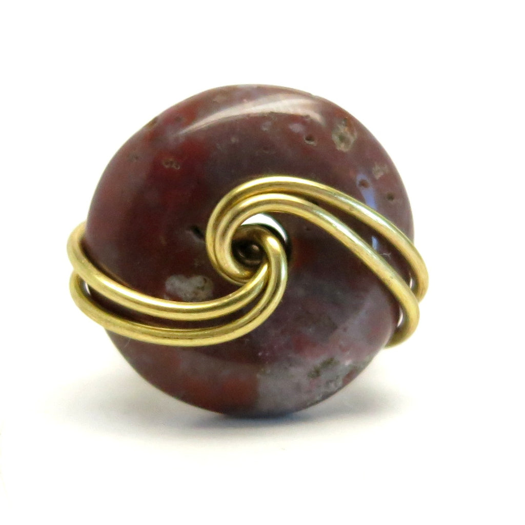 Jasper Ring 25 Purple Donut Stone Gold Wire Wrapped (Size 4)