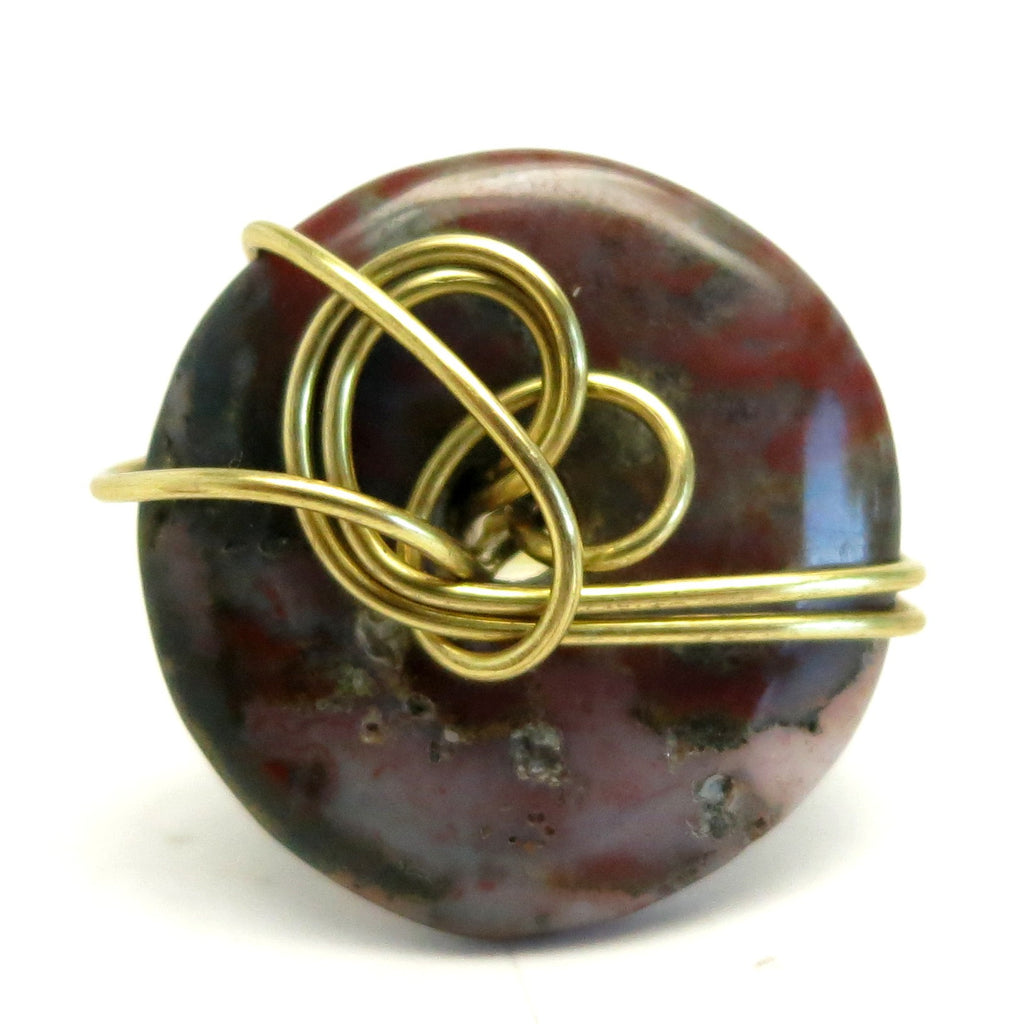 Jasper Ring 31 Fancy Donut Stone Gold Wire Wrapped (Size 6.75)