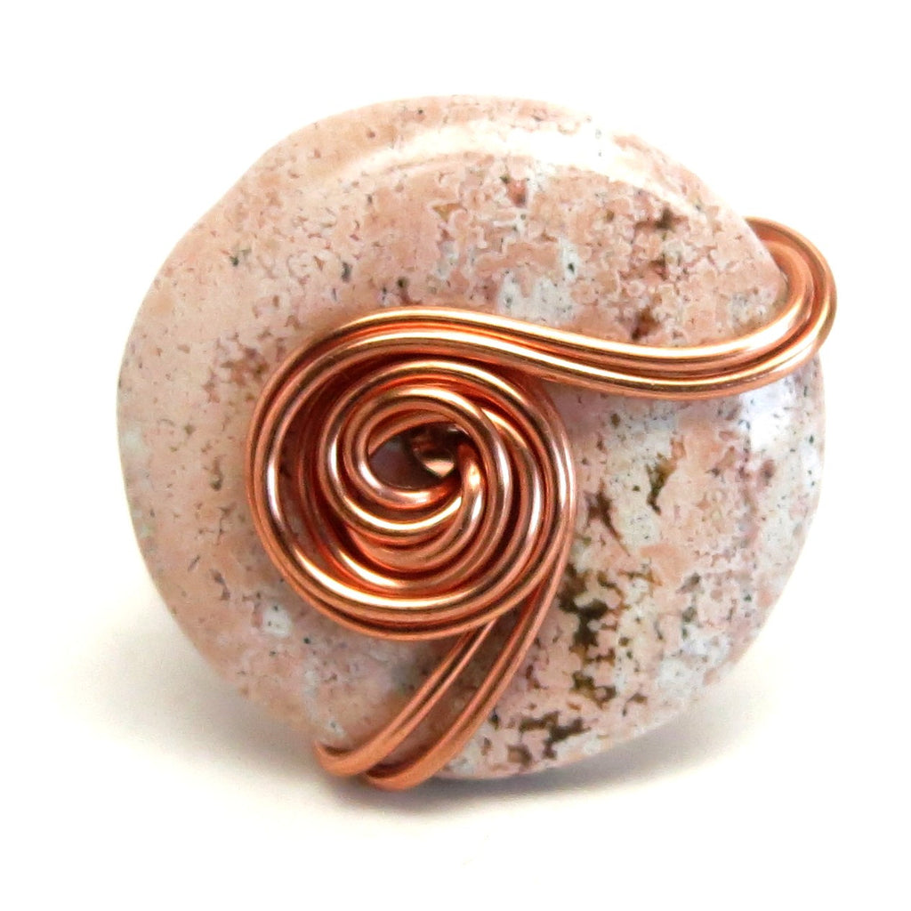 Jasper Ring 35 Pink Donut Stone Copper Wire Wrapped (Size 6)
