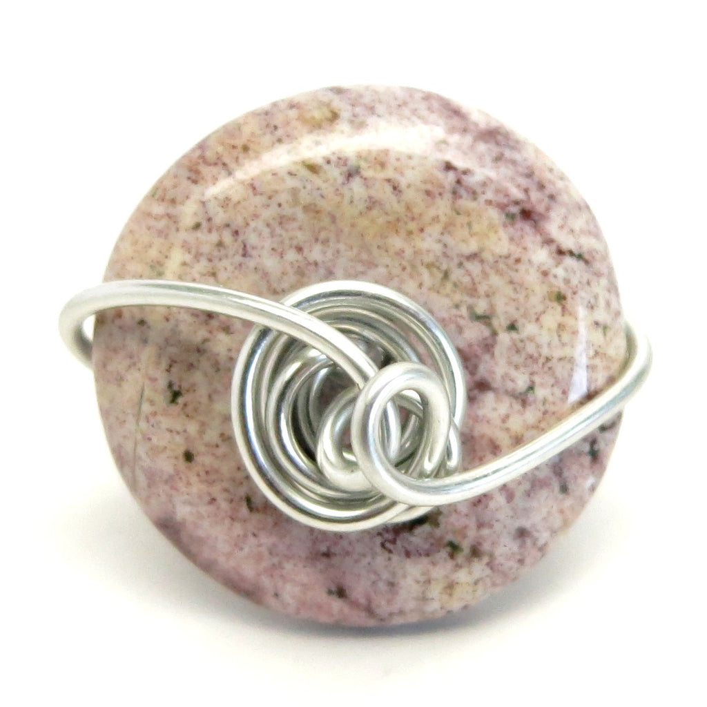 Jasper Ring 40 Purple Donut Stone Silver Wire Wrapped (Size 5)