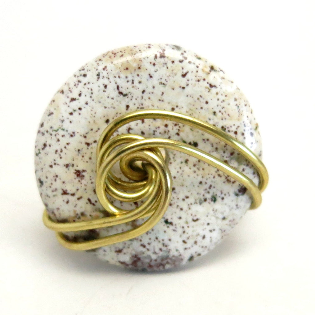 Jasper Ring 42 Purple Donut Stone Gold Wire Wrapped (Size 6)
