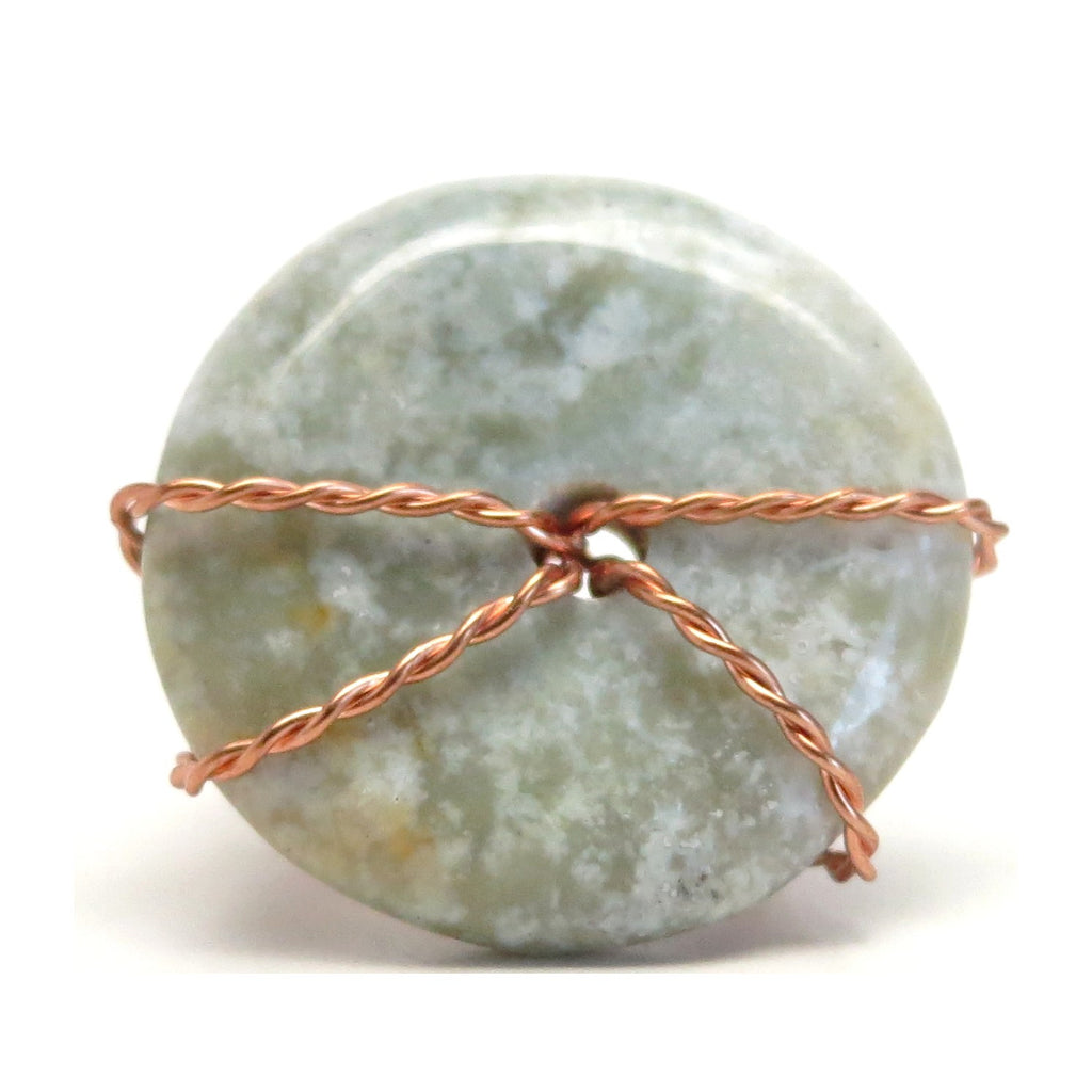 Jasper Ring 51 Green Donut Stone Wire Wrapped (Size 7.25)