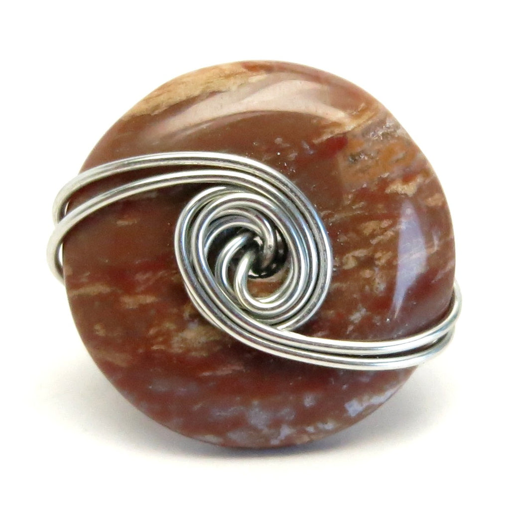 Jasper Ring 54 Red Donut Stone Wire Wrapped (Size 6.25)