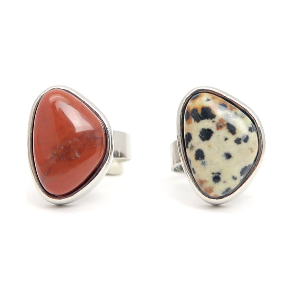 Jasper Ring Set 01 - Dalmatian Red Stone Silver Adjustable