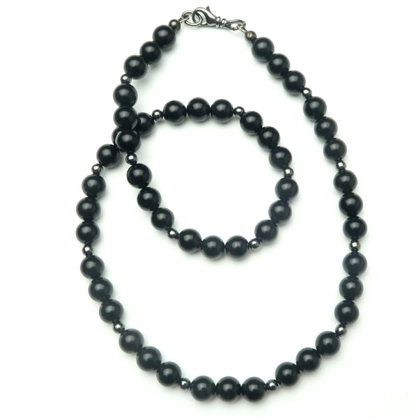 Jet Necklace 01 - Black Round Beaded Stone Gunmetal