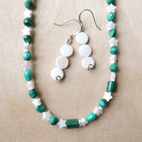 Jewelry Set 02 Malachite Howlite Necklace & Earrings