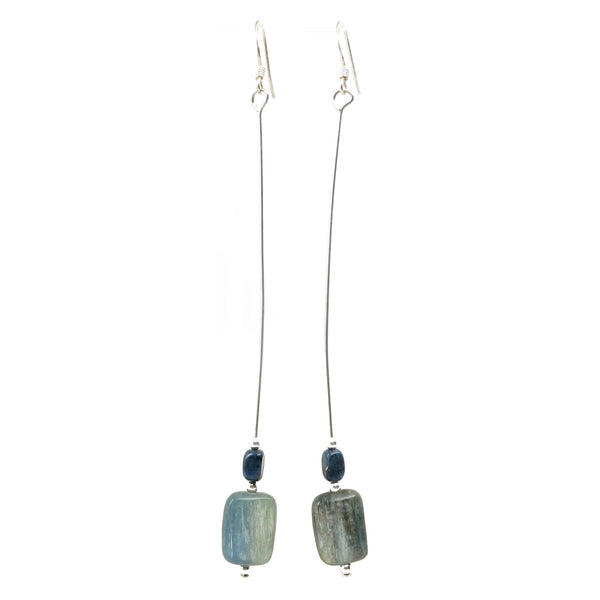 Kyanite Earrings 14 Dumortierite Blue Stone Long - I Dig Crystals