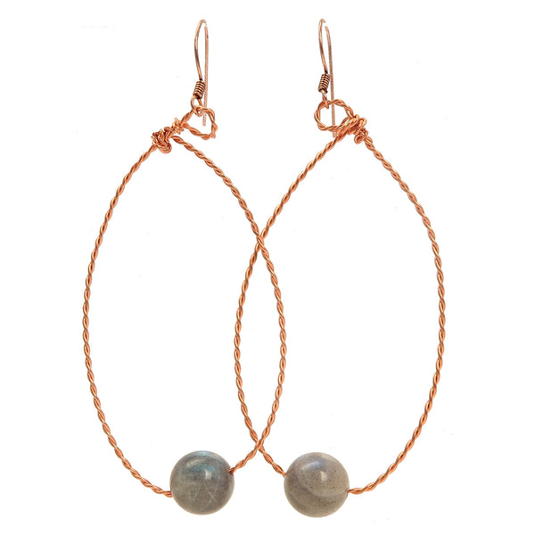 Labradorite Earrings 02 - Twisted Copper Hoop
