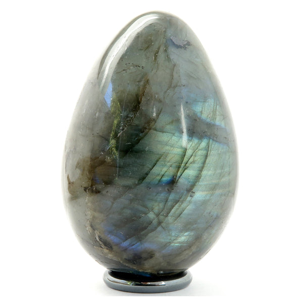Labradorite Egg 04 - Rainbow Stone + Stand (3 Inches)