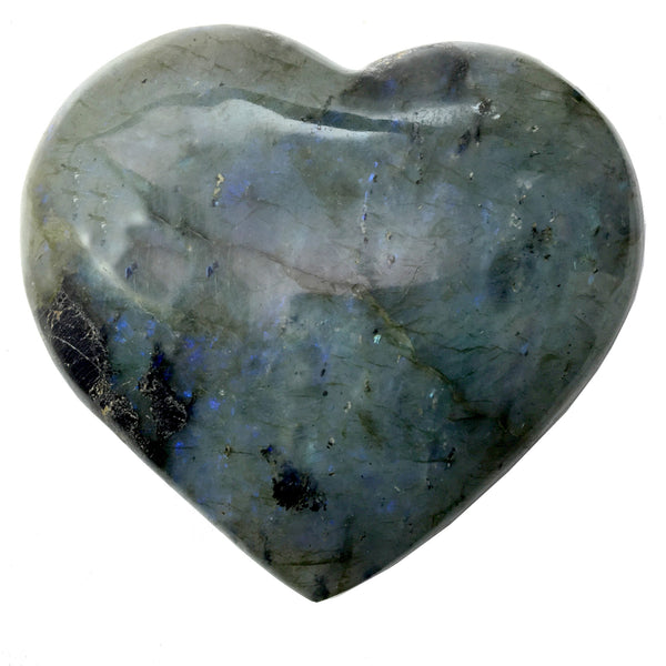 Labradorite Heart 23 Rainbow Blue Sheen Puffy Stone (3.9 Inches) - I Dig Crystals