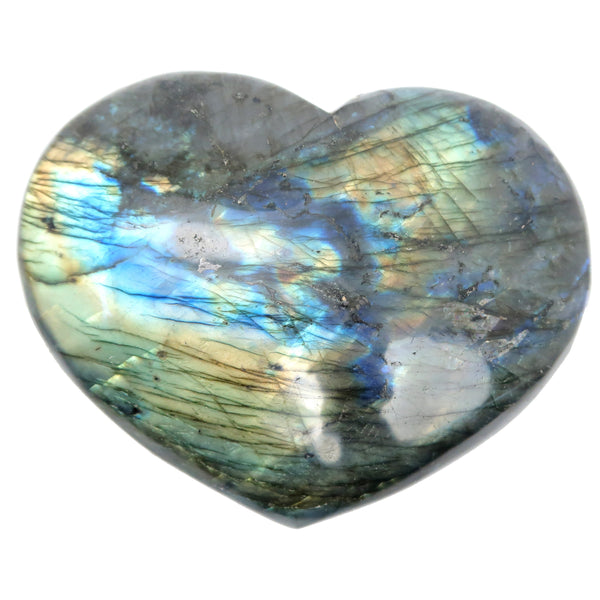 Labradorite Heart 27 - Huge Rainbow Stone XL (5.5 Inches)