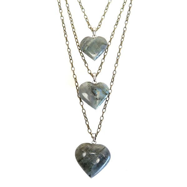 Labradorite Necklace 14 Triple Heart Multi-strand Sheen