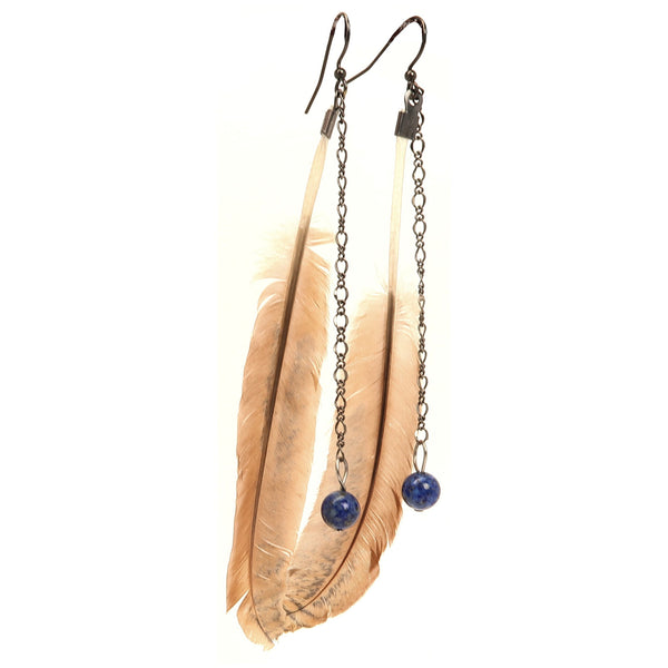 Lapis Earrings 01 - Feather Blue Stone Long