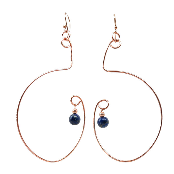 Lapis Earrings 20 Copper Big Blue Stone - I Dig Crystals