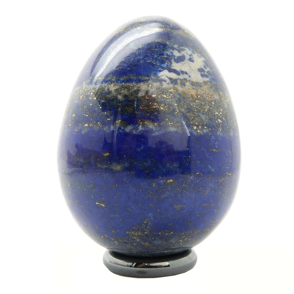 Lapis Egg 09 - Blue Gold Crystal + Stand (2.1 Inches)