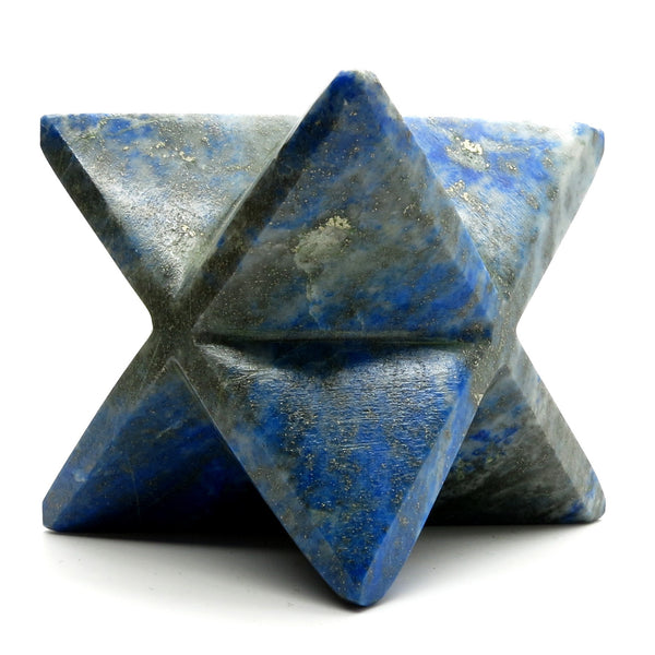 Lapis Merkaba 03 Lazuli Blue Gold Star Stone (1.9 Inches) - I Dig Crystals
