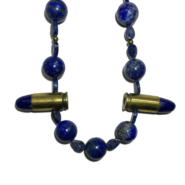 Lapis Necklace 19 Beaded Bullet Blue Gemstone - I Dig Crystals