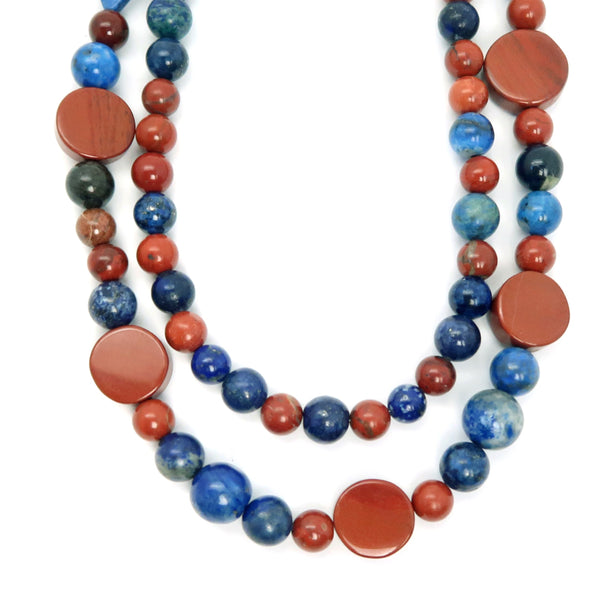 Lapis Necklace 26 - Red Jasper Blue Multi-Strand