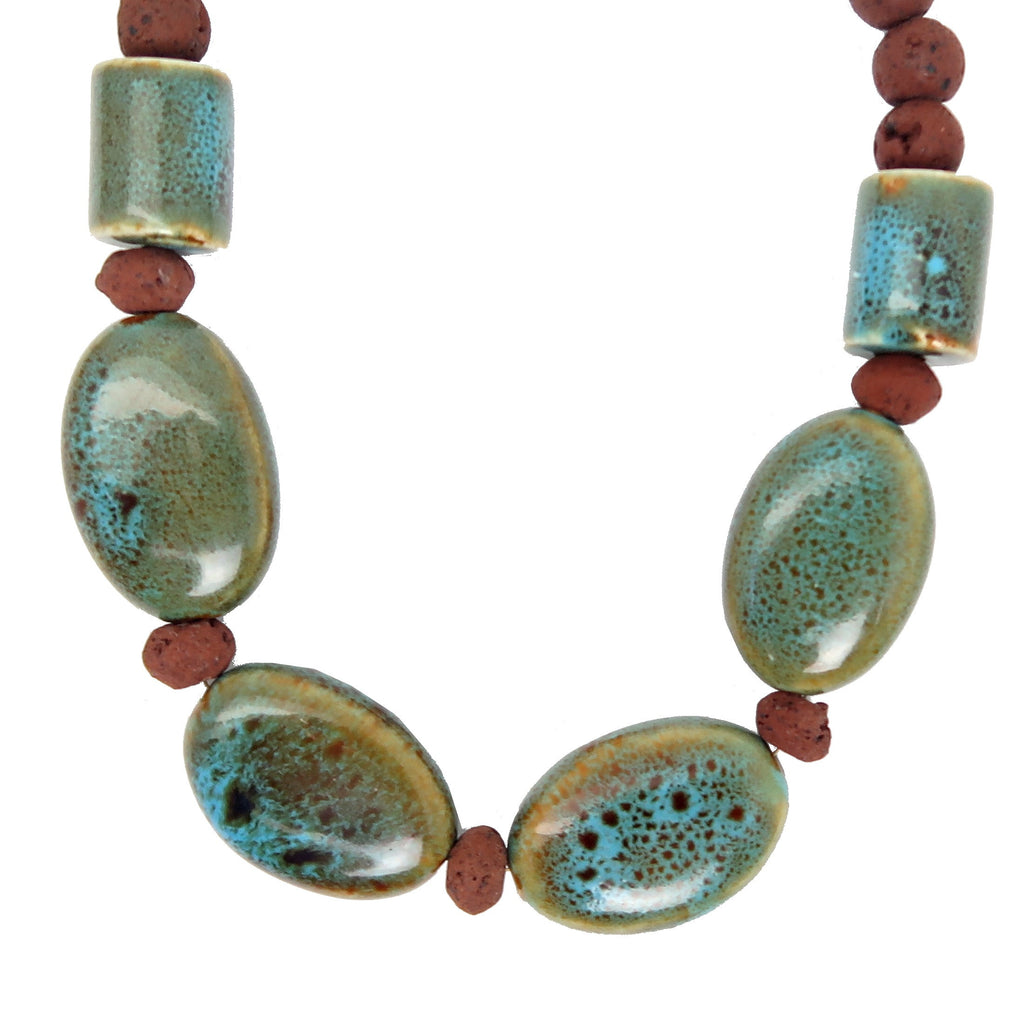 Lava Necklace 09 - Red Stone Blue Ceramic Beaded