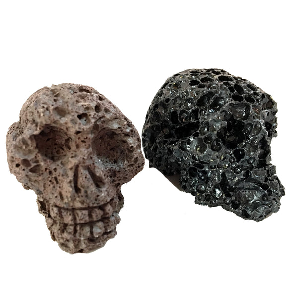 Lava Skull 01 Set Brown & Black Volcanic Porous Stone Pair - I Dig Crystals