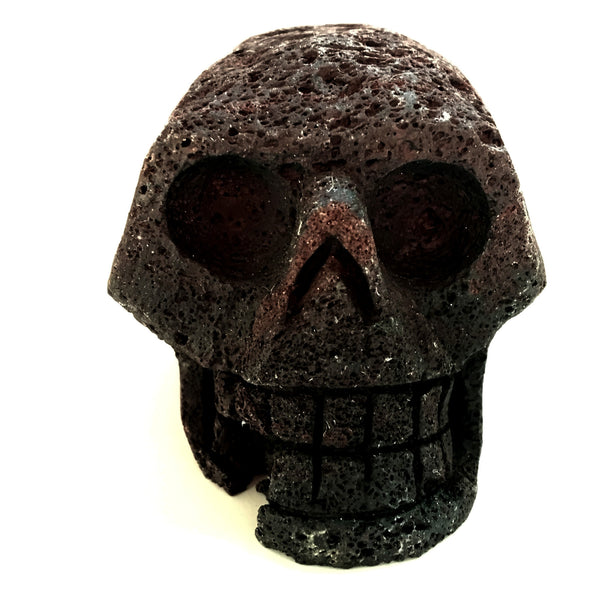 Lava Skull 05 Black Volcanic Carving Natural Stone - I Dig Crystals