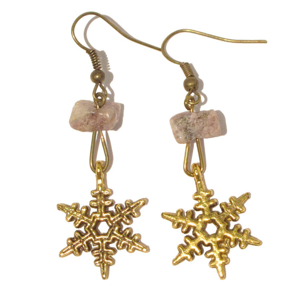Lepidolite Earrings 03 Purple Stone Gold Snowflake - I Dig Crystals