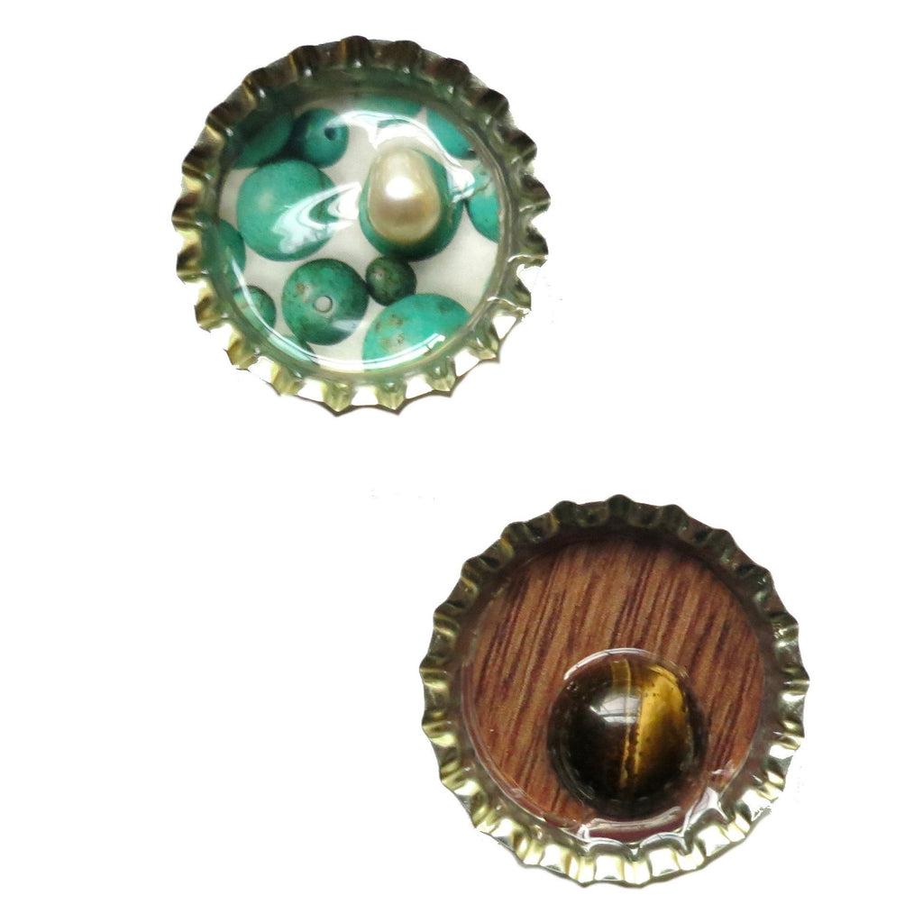 Magnet Set 08 Pearl Tigers Eye Bottlecap - I Dig Crystals