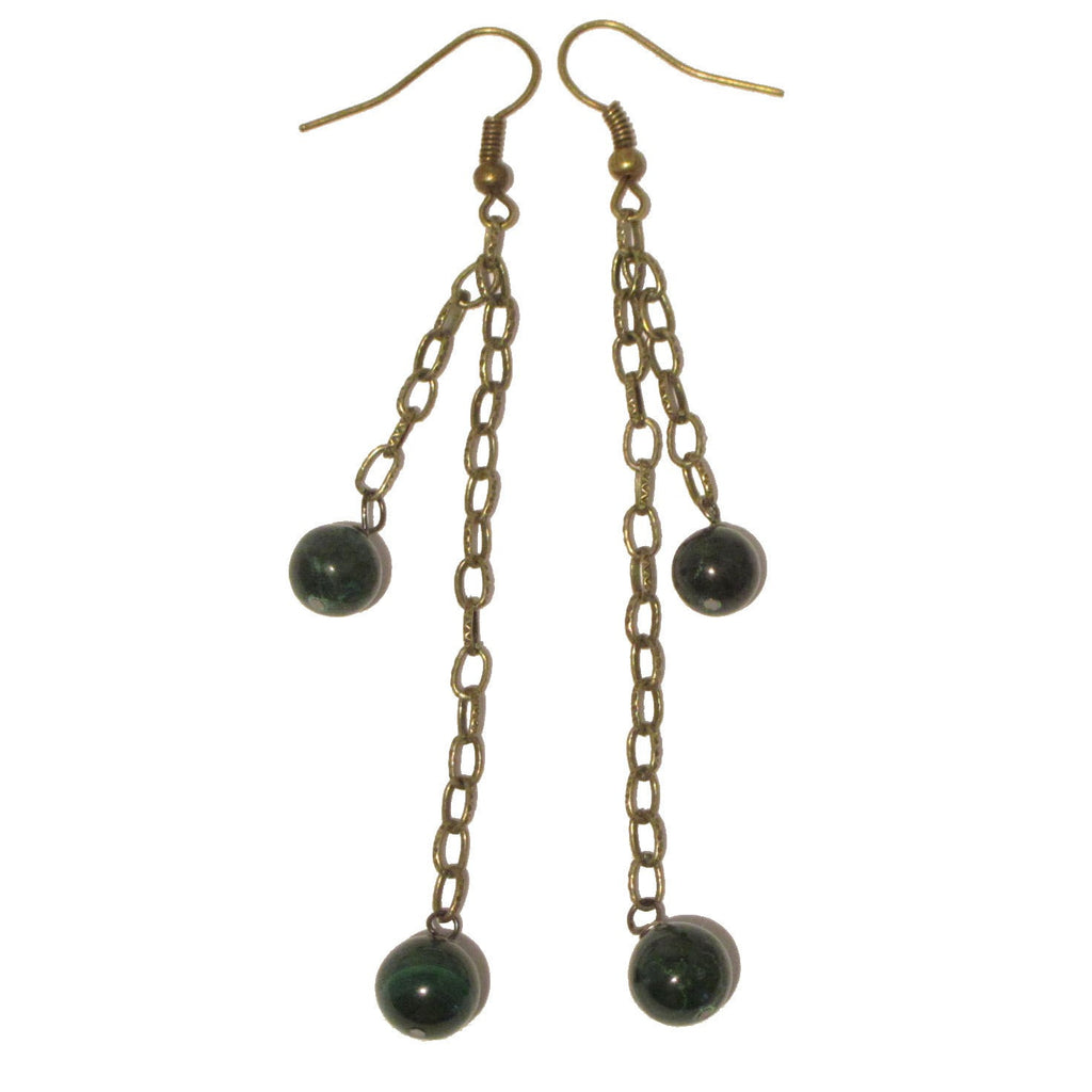 Malachite Earrings 12 Long Antiqued Brass Chain Green Stone - I Dig Crystals