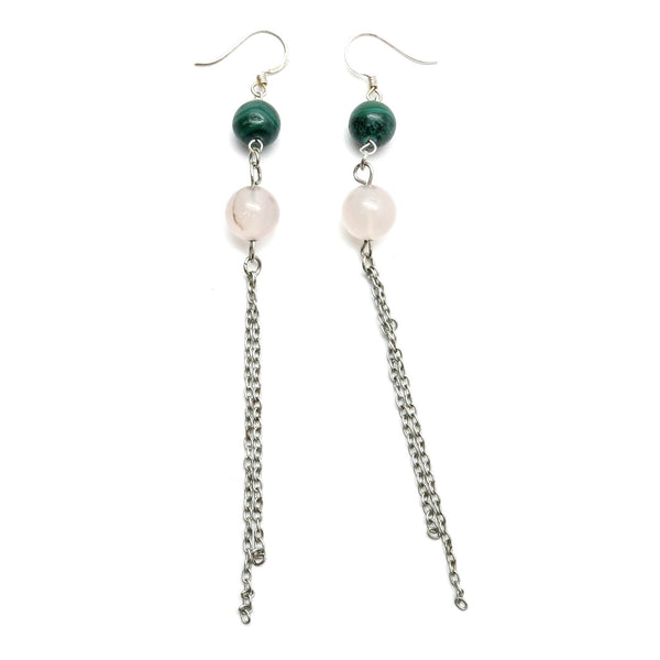 Malachite Earrings 14 Rose Quartz Stone Silver Chain Long