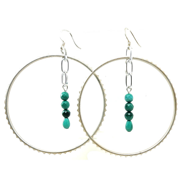 Malachite Earrings 15 Silver Hoop Green Stone - I Dig Crystals