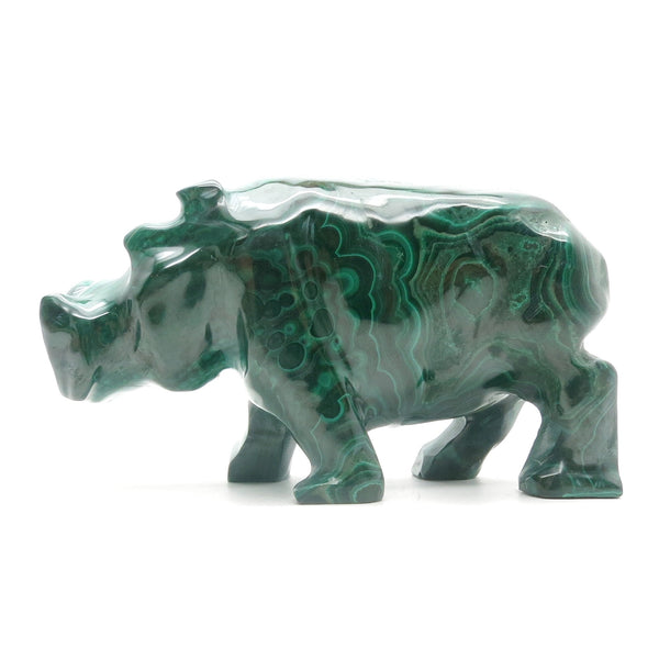 Malachite Hippo 02 Green Stone Carving Chunky Animal (4 Inches)