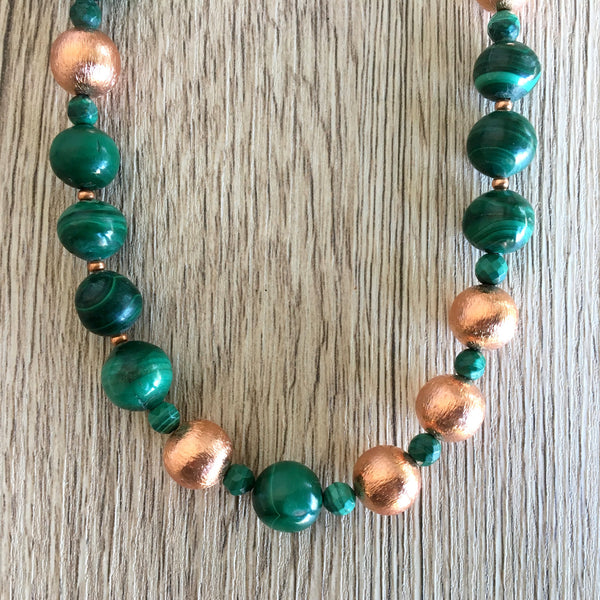 Malachite Necklace 20 Copper Green Gemstone Round