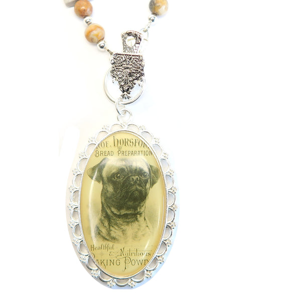 Marble Necklace 07 Bulldog Animal White Crazy Lace Agate
