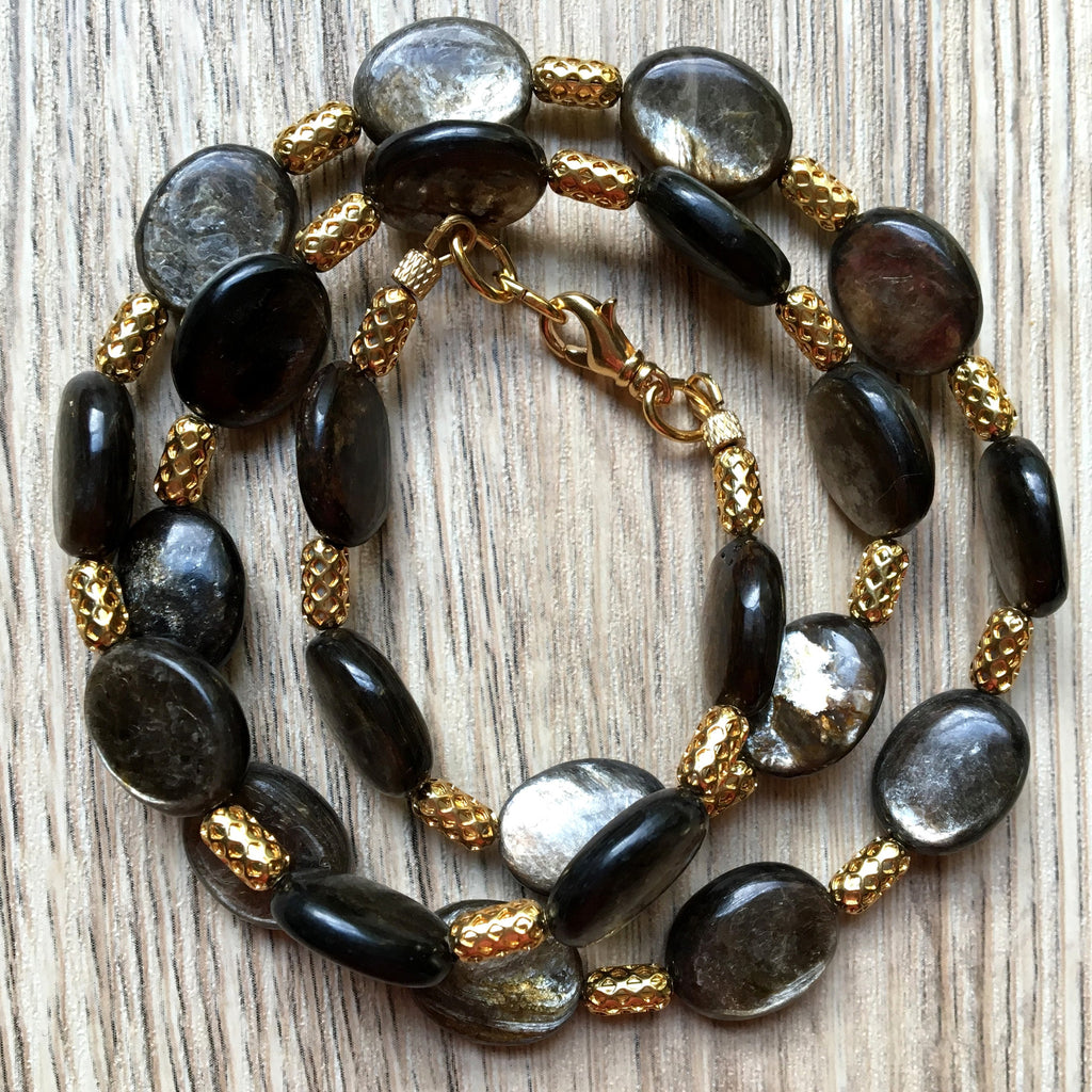 Mica Necklace 03 Oval Gold Capsule (22 Inches) - I Dig Crystals